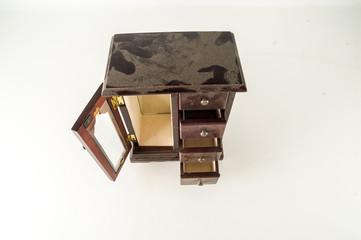 Close-up of jewelry box wardrobe