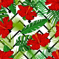 Seamless pattern with red hibiscus and green leaves.