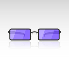 Vector image of sunglasses with purple lenses on a white background with a mirror shade from the glasses. Flat