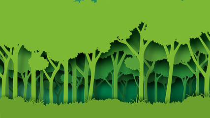 Eco green nature forest background template.Forest plantation with ecology and environment conservation creative idea concept paper art style.Vector illustration.