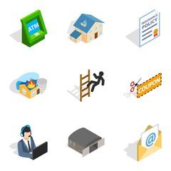Storekeeper icons set, isometric style