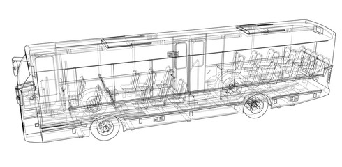 Concept city bus. Vector rendering of 3d
