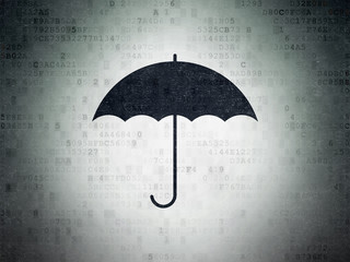 Safety concept: Painted black Umbrella icon on Digital Data Paper background