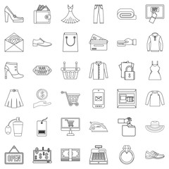 Web buying icons set, outline style
