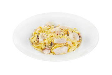 Pasta, noodles with seafood, decorated with cheese. Isolated white Side view Serving a meal in a cafe, restaurant.