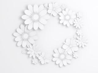 White paper flowers, wreath decoration 3d