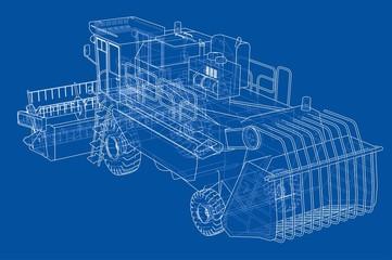 Concept combine-harvester. Vector rendering of 3d