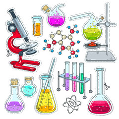 colorful sticker, set of various devices for chemical experiments, microscope