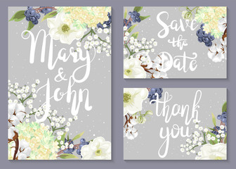 Save the date. A set of wedding invitations and cards with flowering branches