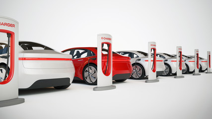 Electric cars charging station, electric vehicle concept 3d rendering
