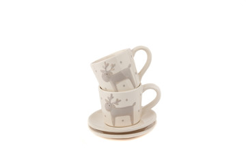 Beige ceramic cups for coffee or tea, white background