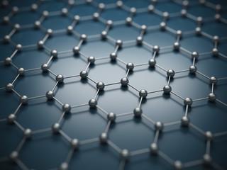 raphene molecular grid, graphene atomic structure concept, hexagonal geometric form, nanotechnology background 3d rendering