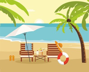 Chaise lounge and umbrella on beach. Summer Vacation and Tourism