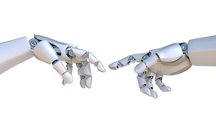 Two robot hands as Michelangelo's Creation of Adam 3d rendering