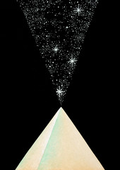hand made illustration of a crystal pyramid which opens up a portal to the cosmos