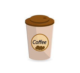 A paper  cap (container) with hot coffee. Icon.