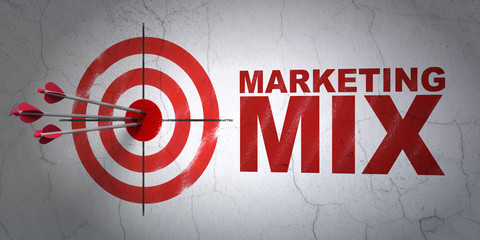 Success marketing concept: arrows hitting the center of target, Red Marketing Mix on wall background, 3D rendering