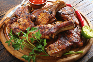 close-up of delicious juicy grilled pork cutlets