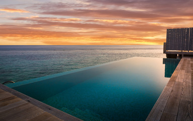 Private swimming pool and amazing sunset