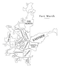 Modern City Map - Fort Worth Texas city of the USA neighborhoods and titles outline map