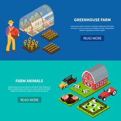 Farm Isometric Banners Set