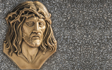Gold face of Jesus Christ crown of thorns