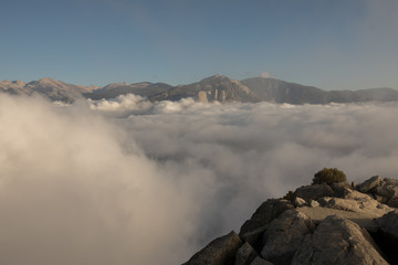 Fog,sun,sunlight,sunset,sequoia national park, morro rock,clouds, above clouds, rock, stones,wonderful, beautiful, wonderful view,beautiful view