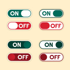 On and Off Buttons Set. Vector Icons.