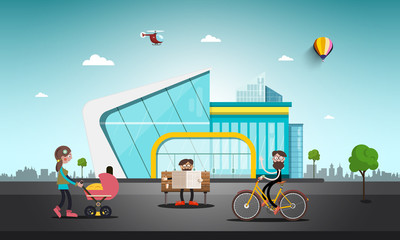 Modern Building in Abstract City. People on Street. Vector Design.
