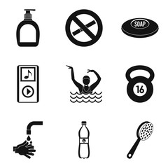 Occupational health icons set, simple style