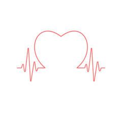 Heart sign inside pulse line isolated on white background