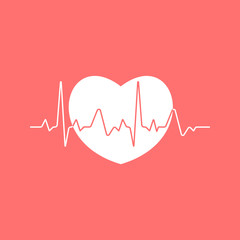 Heartbeat sinusoidal line with white heart on red background. Medical illustration