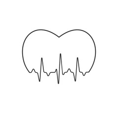 Stylized medical logo illustration with pulse and heart. Heartbeat sign