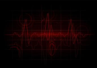 Red sinusoidal line. Earthquake seismic activity background illustration