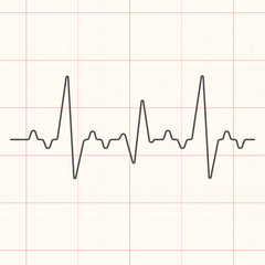 Black cardiogram line illustration on red grid medical background