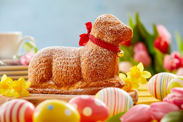 Festive Easter table with a novelty lamb cake