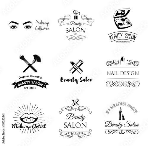Beauty Salon Design Elements In Vintage Style Lipstick Mascara