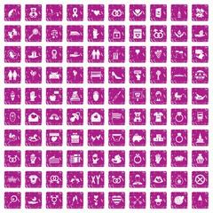 100 love icons set grunge pink