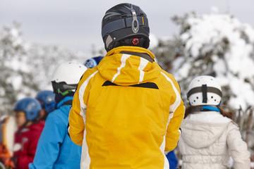People ready to ski. Snowy landscape. Winter sport