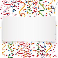 Papierstreifen mit Konfetti und Luftschlangen