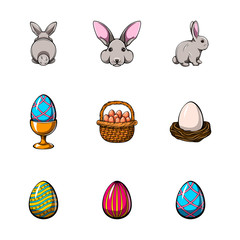 Big easter set with traditional eggs and bunny. Vector illustration.
