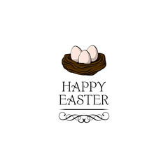 Hand drawn vector illustration. Happy Easter Spring nest with bird eggs. Vector.