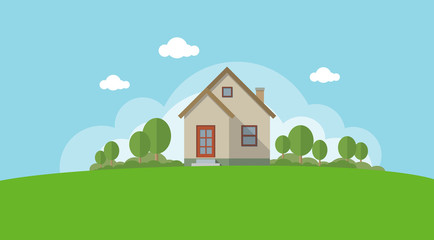 Vector Illustration of a House and Garden Wall mural