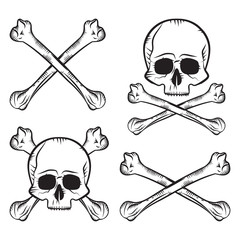 human skull and crossbones set