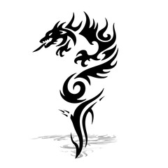 Black Dragon. Silhouette on white background, vector for printing