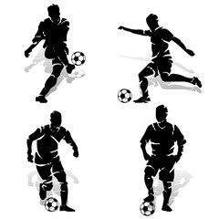Collection of football players with ball. Silhouette on white background, vector for printing