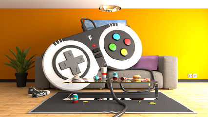 Huge gamepad controller on sofa, 3d rendering