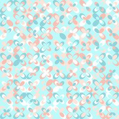 Floral mid century retro background. Pastel pink and mint colors. Seamless vector pattern. Abstract turquoise background.