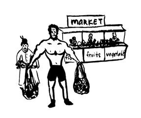 drawing of a comic cartoon picture pumped by an athletic man helps to carry bags from the market to an elderly woman, sketch, hand-drawn vector illustration