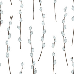 Seamless pattern with willow branches